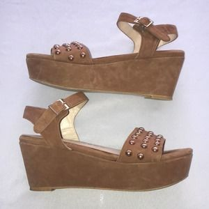 Sacha London Tan Suede Strappy Studded Platforms